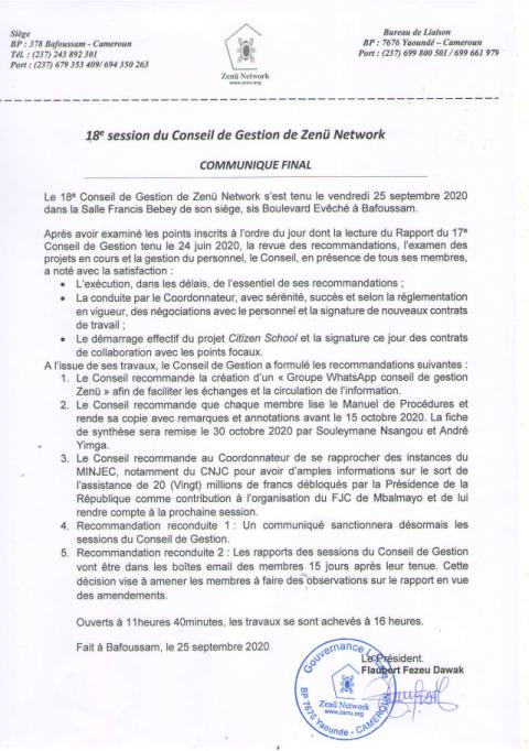 18e Session du Conseil de Gestion de Zenü Network – Communiqué Final